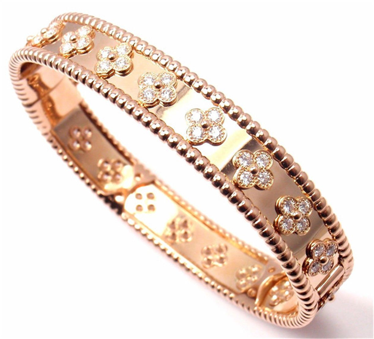Van cleef u arpels k rose gold perlee diamond clover bangle