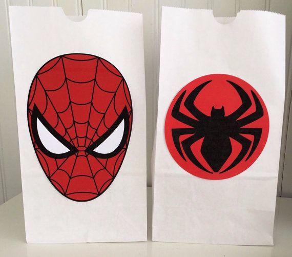 12 Spiderman Favor bags Spiderman Party Bags Spiderman