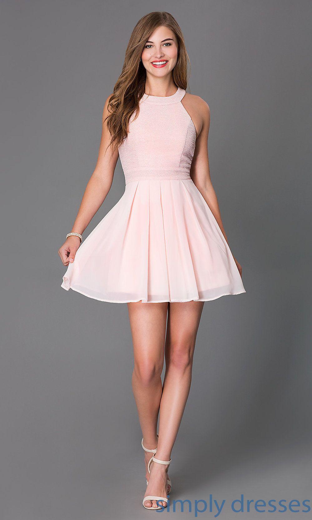 5d86597ff15 Shop sleeveless blush pink short glitter print cocktail dresses at  SimplyDresses. Semi formal prom dresses