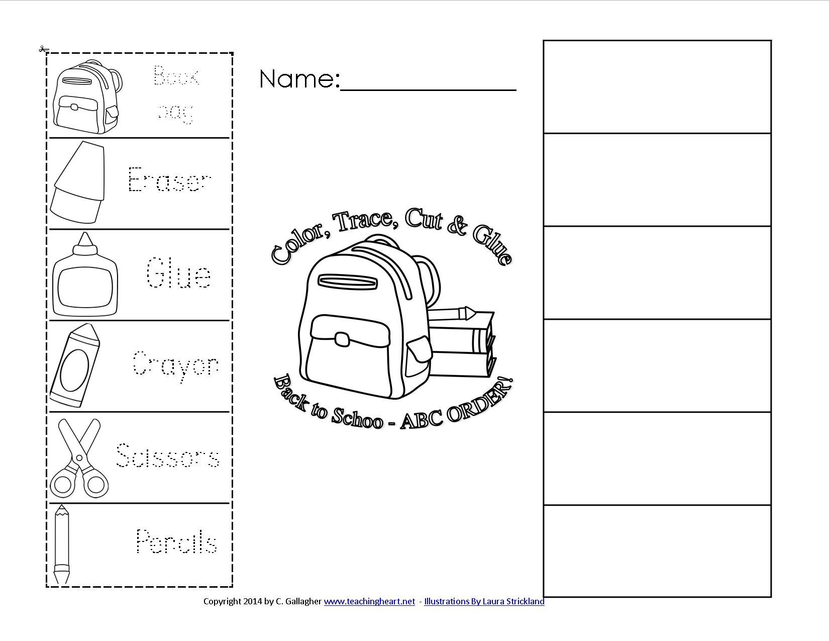 School Supplies Worksheet For Esl New Color Cut And Pasteorksheets On Create Name Tracing