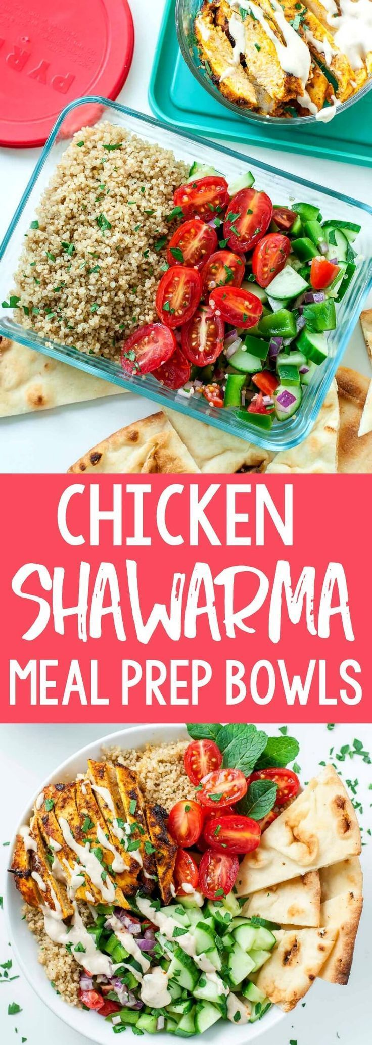 Healthy Chicken Shawarma Quinoa Bowls #chickenbreastrecipeseasy