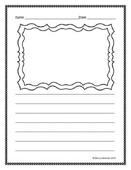 freebie writing paper lined with drawing frame click on the green star to