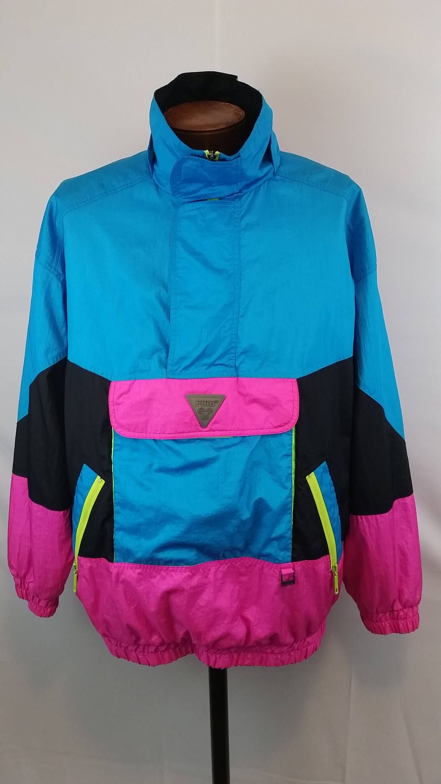 1980S Mens Neon Color Block Ski Snowboard Pull Over Jacket