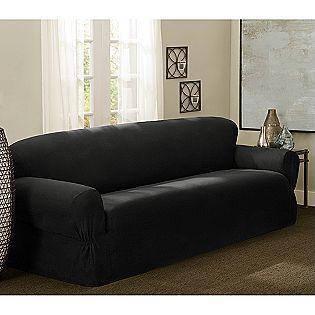 Essential Home Piece Cotton Duck Sofa Cover Black