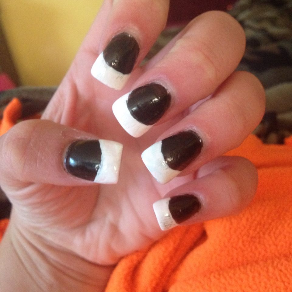 Black And White French Nail Tip Design Acrylic Nails Something