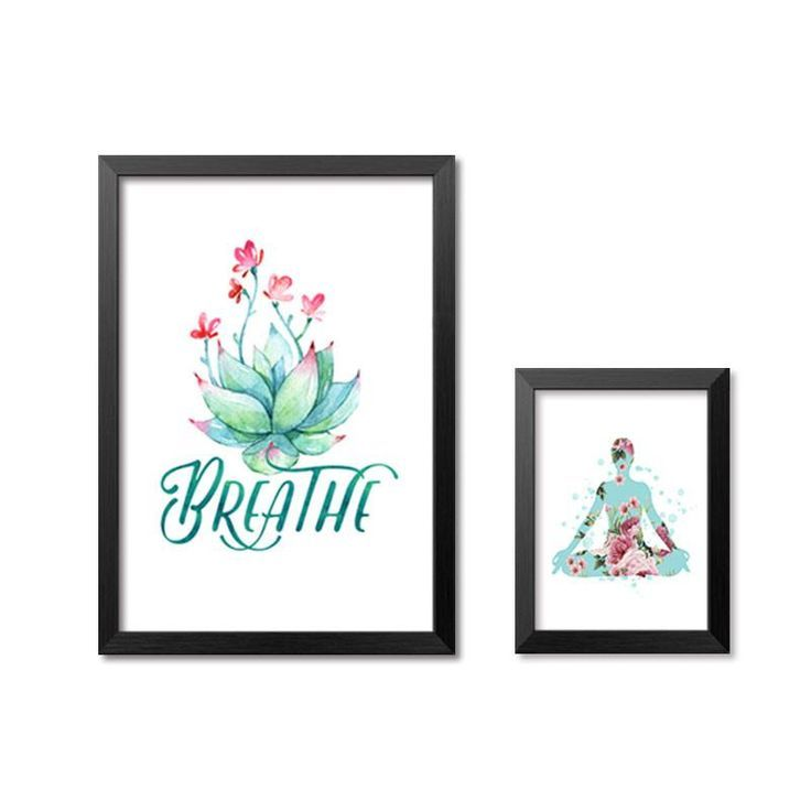 Breathe Yoga Room Fitness Canvas Art Print Poster Still Life Wall Picture Canvas Painting Home Decor...