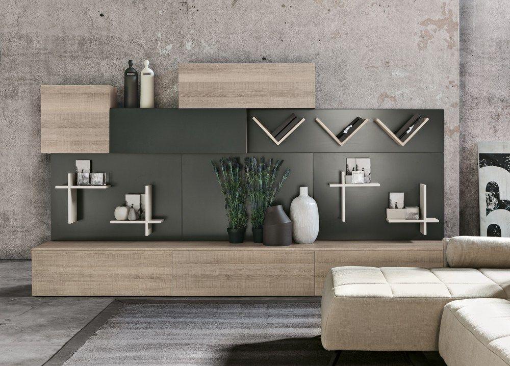 Mueble modular de pared composable de madera de estilo moderno - muebles de pared
