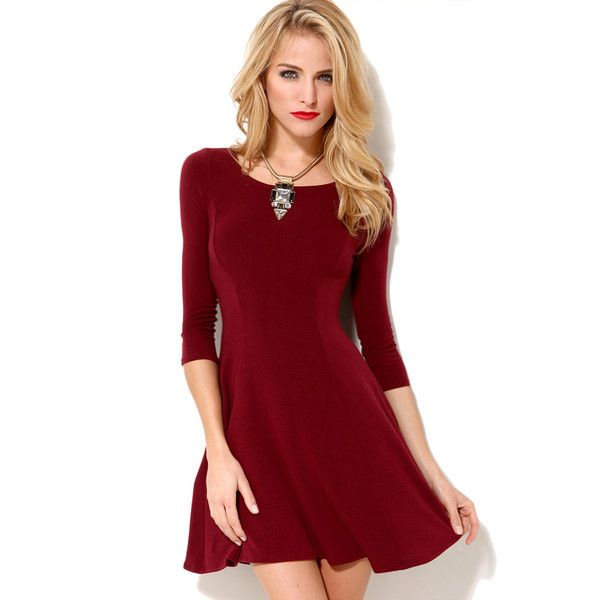 AKIRA Knit Skater Dress in Burgundy