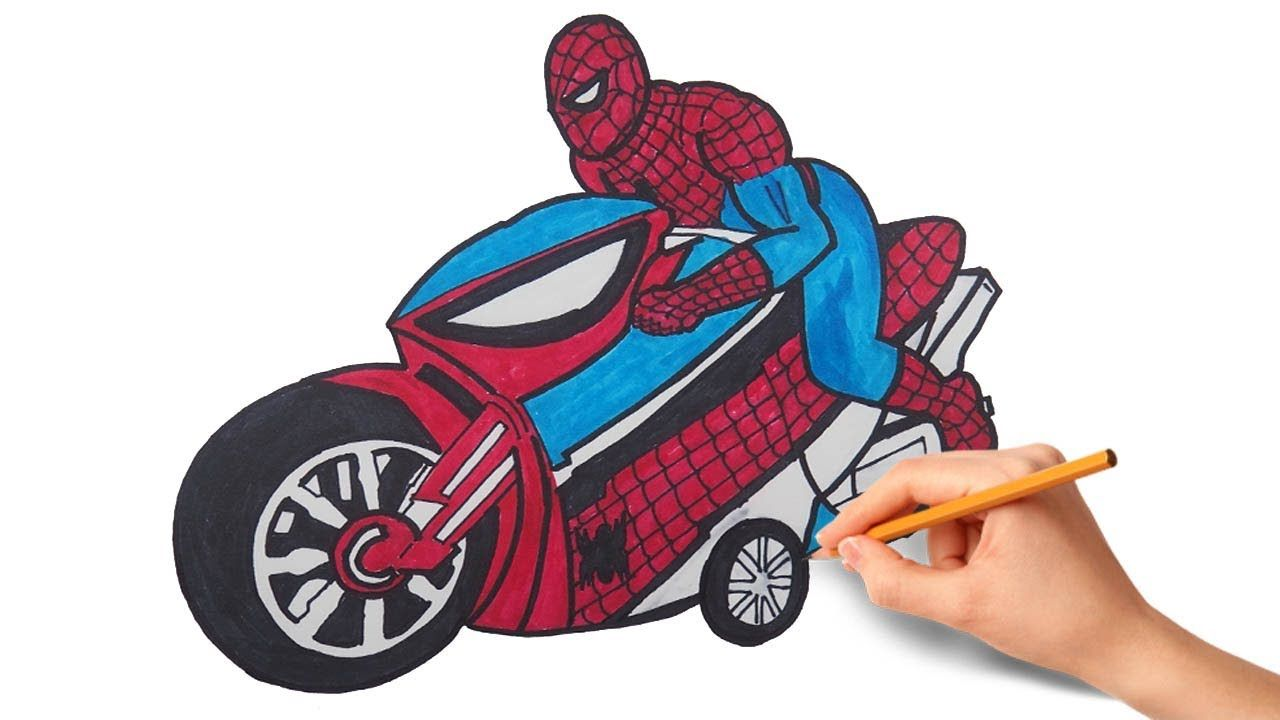 How To Draw Spiderman With Motorcycle Spiderman Coloring Pages For Kids Https Www Youtube Com Spiderman Coloring Spiderman Drawing Coloring Pages For Kids