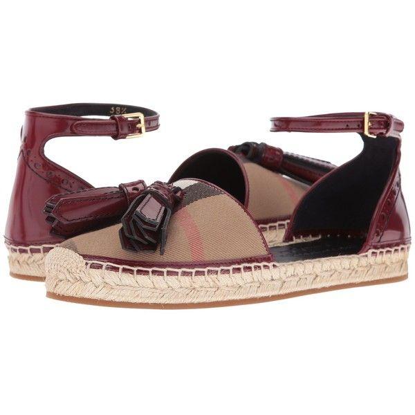 bda0f9cc036 Burberry Abbingdon (Bordeaux) Women s Flat Shoes ( 395) ❤ liked on Polyvore  featuring