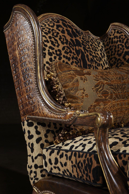 Animal Print Carved Chair Embossed Leather Animal Print