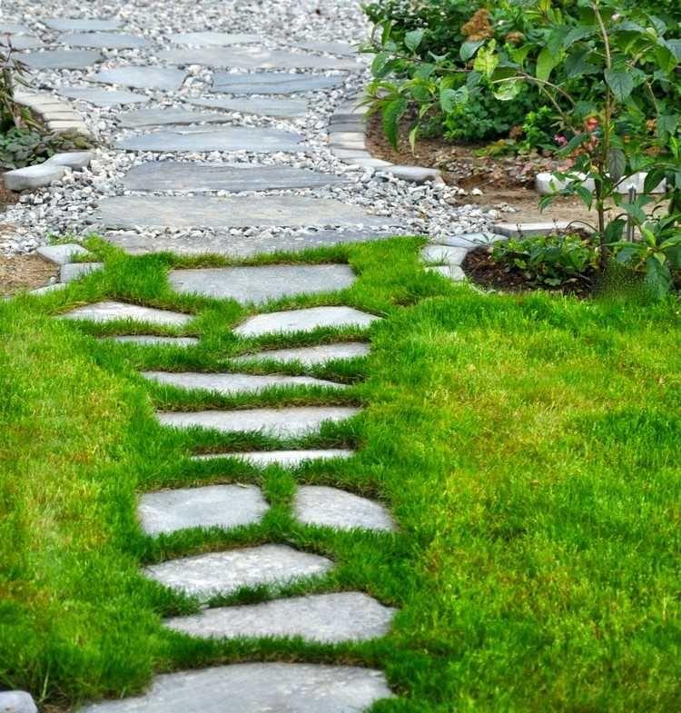 allée jardin en gravier, ardoise et bois –créer une allée piétonne