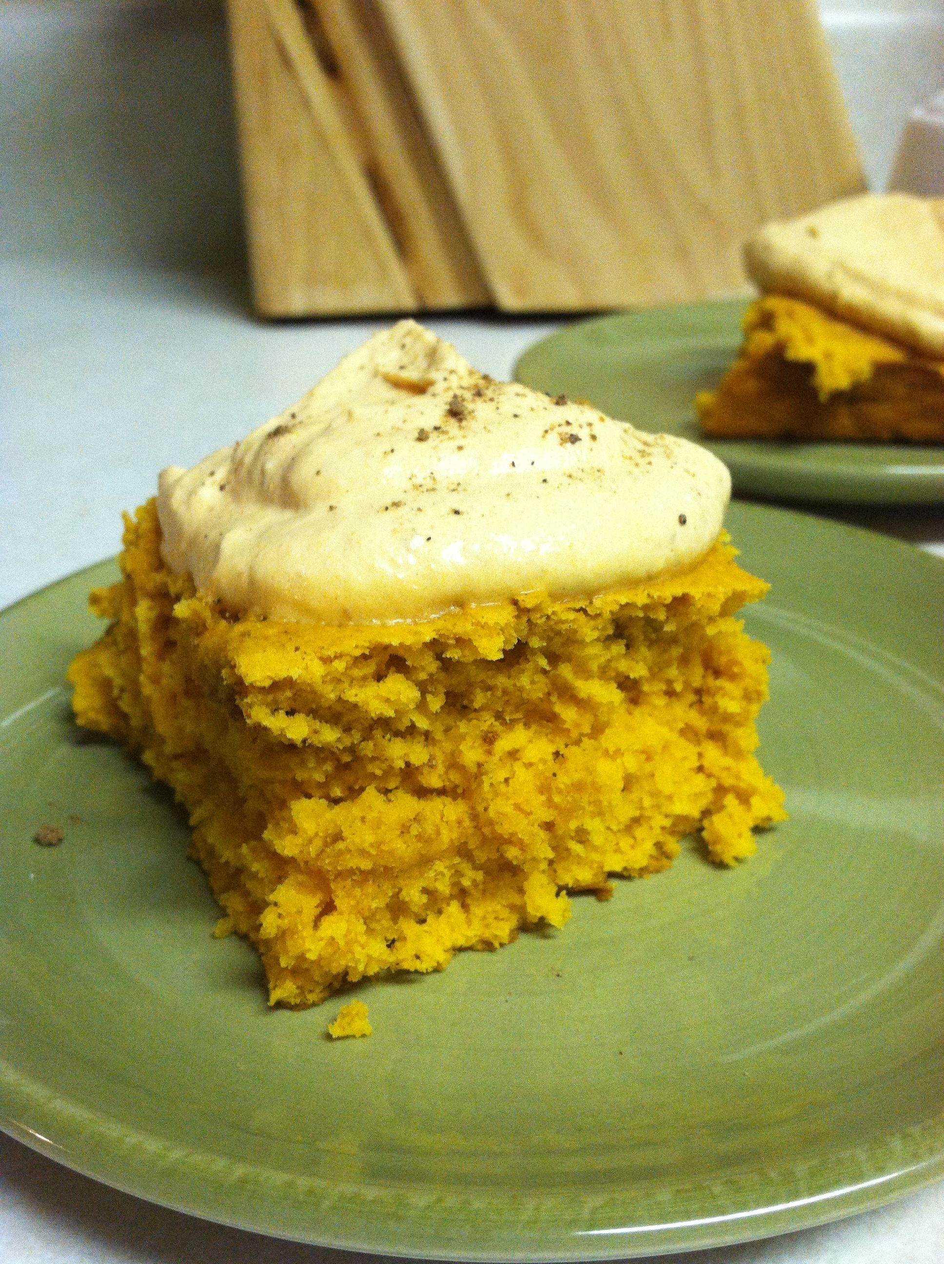 1 2 A Can Of Pumpkin Pie Filling Mixed With Yellow Cake