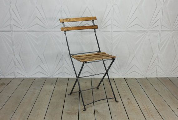 Vintage French Bistro Chair Folding Wood Metal By RetroSpecList