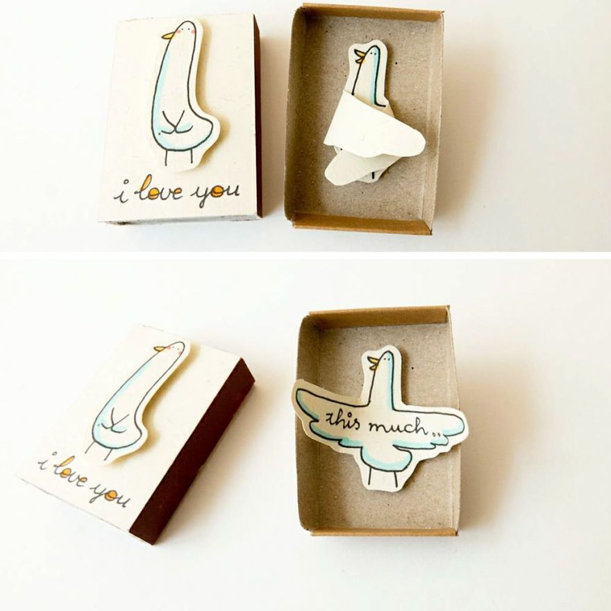 Photo of Artist Creates Little Matchbox Greeting Cards With Hidden Messages Inside