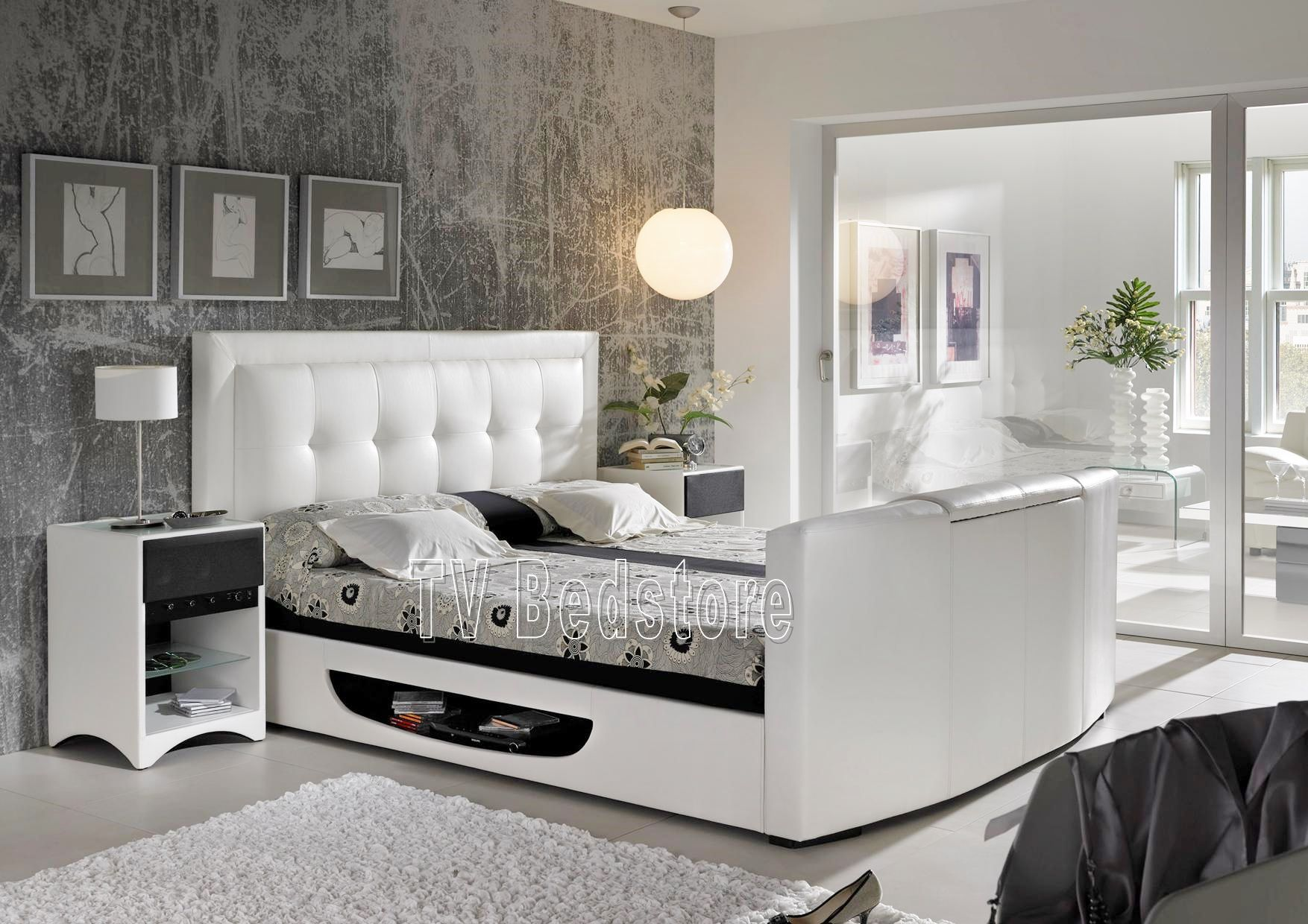 The Bowburn Super King Size TV Bed Is The Ultimate In Bedroom Style And  Luxury,