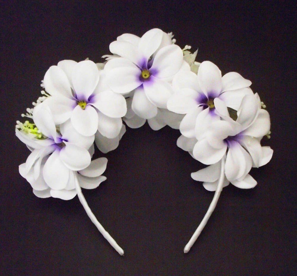 Etsy Shop Hawaiian Headband Plumeria Flower Crown White Purple