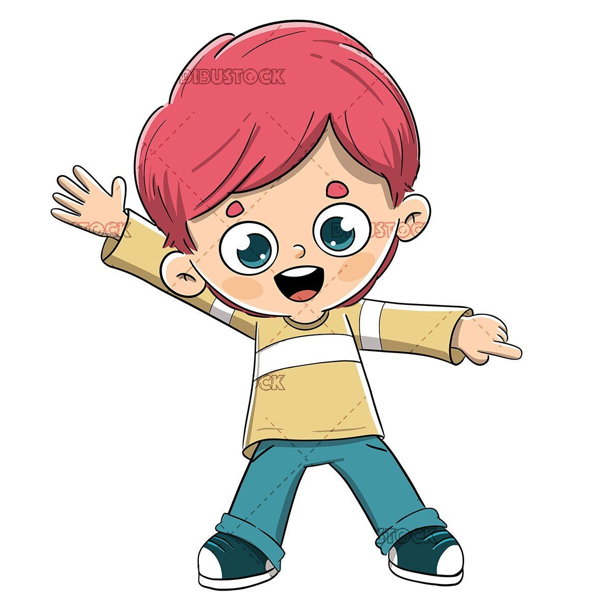 Boy Pointing With A Finger Drawing Cartoon Characters Toddler Drawing Cartoon