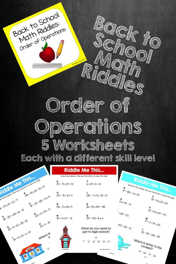 Back to School Order of Operations Math Riddles Order of