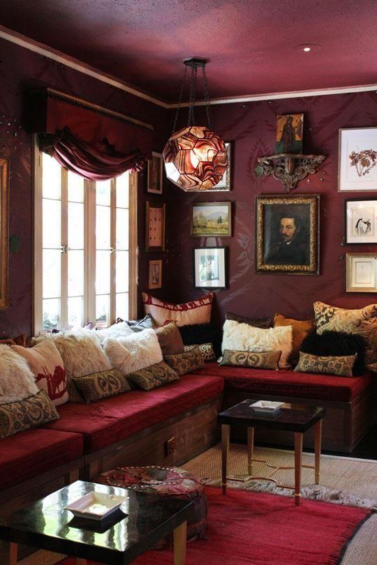 cozy den  burgundy living room burgundy walls home