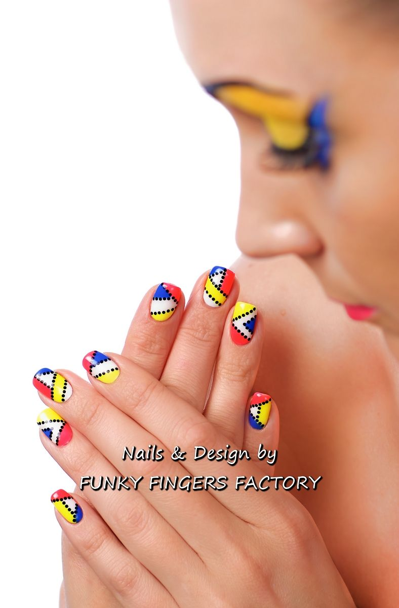Gelish Pop Art Nail Art By Funky Fingers Factory Gelish Nails By