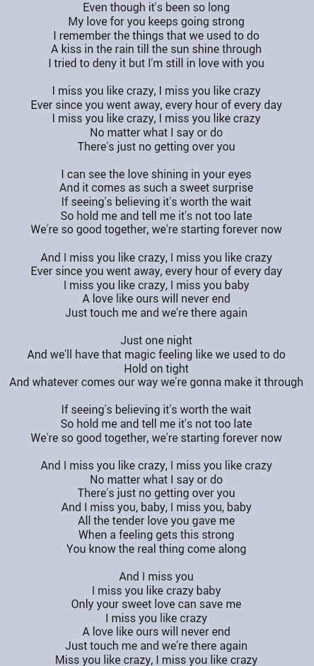 Natalie Cole Miss You Like Crazy With Images Crazy Lyrics