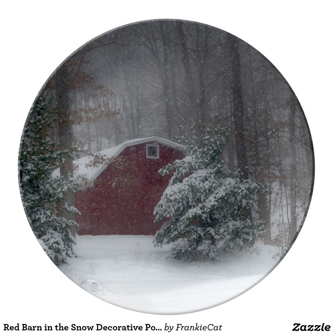 Red Barn in the Snow Decorative Porcelain Plate