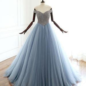 Luxury Beaded Crystal Light Blue Long Prom Dress Custom Made Prom Party Gowns , Formal Evening Dress . Women Dress