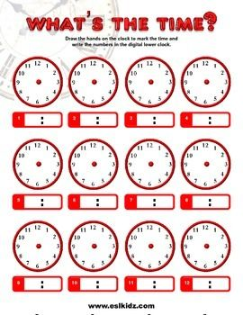 Clock and Time worksheet | Math Lesson | Clock worksheets