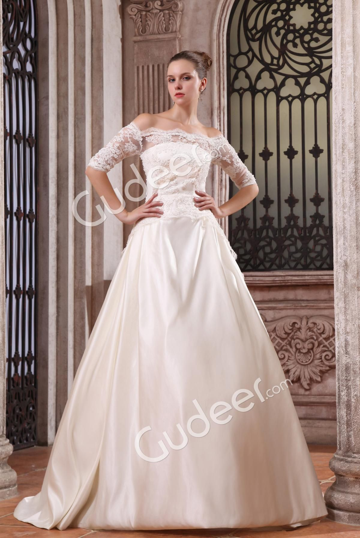 strapless ball gown luxury wedding dress with offtheshoulder lace