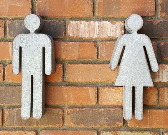 Rustic Metal Bathroom People Restroom Door Male Female Gender Etsy Basement Bathroom Design Bathroom Design Luxury Bathroom Signs