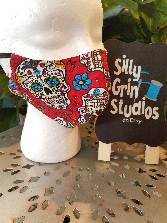 100% Cotton Face Mask RED SUGAR SKULL: Germ Mask, Groomer Mask,Nail ...