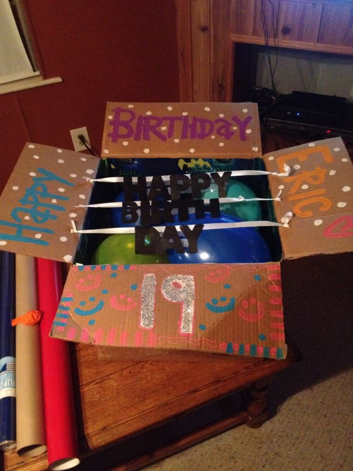 Made This For My Boyfriends 19 Birthday Balloons Tissue Paper His Favorite Candies And A Handmade Card Shipping It To College Dorm