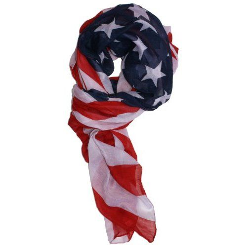 $18.00 Amazon.com: LibbySue-Patriotic, Red, White and Blue American Flag Scarf: Clothing