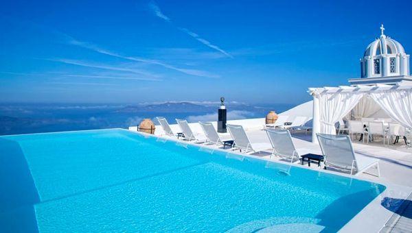 Hotel infinity pool  The infinity pool at Tsitouras Collection hotel on Santorini ...