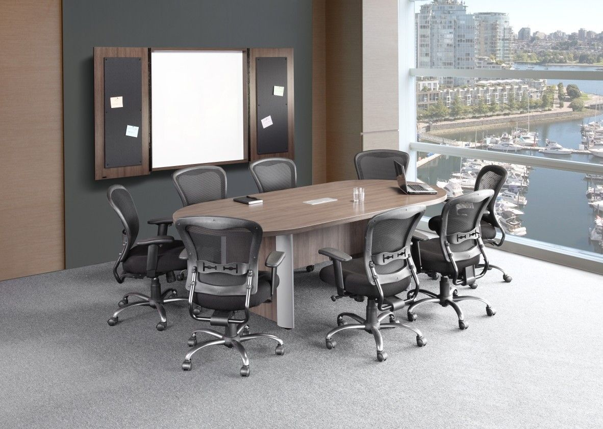 Modern Walnut Boat Shaped Conference Table With Presentation Board And Nova Chairs Available At Alternative O Conference Room Chairs Furniture Office Cabinets