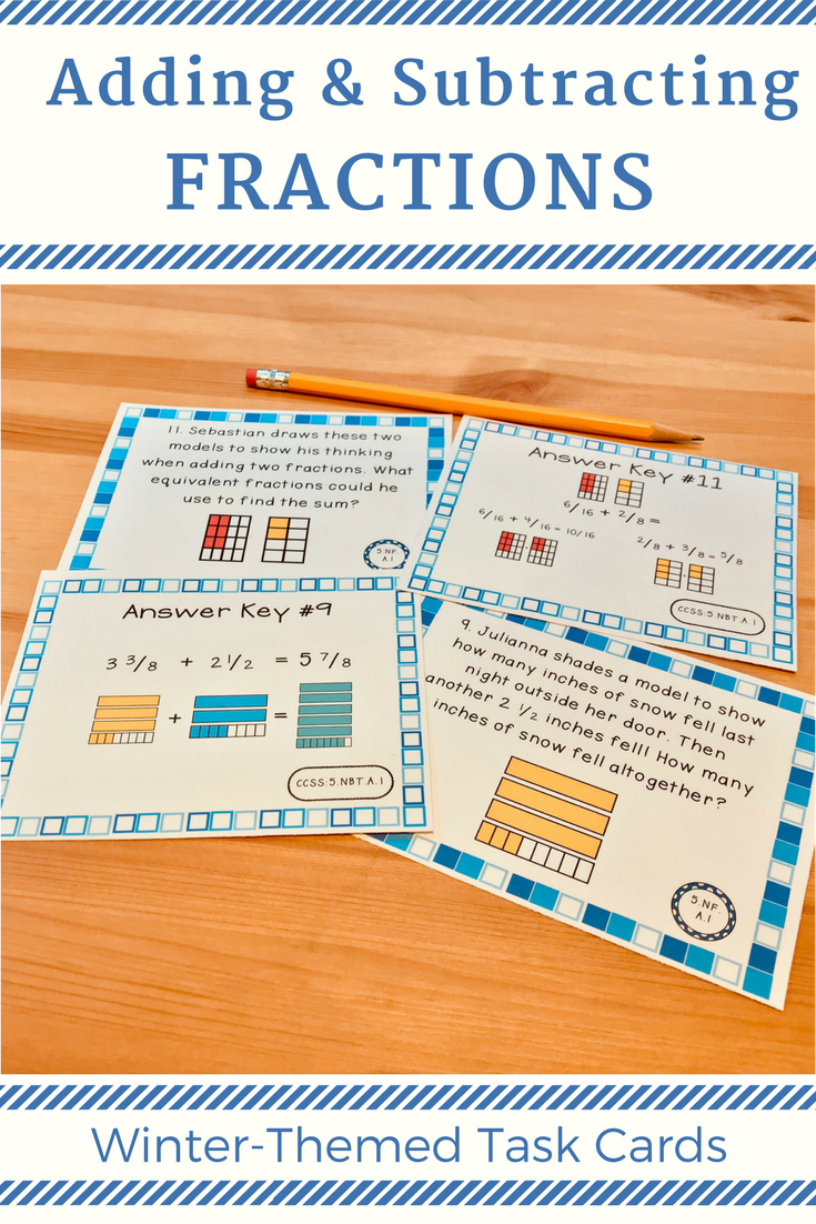 Fractions Word Problems: Winter Theme (Add/Subtract Fractions ...