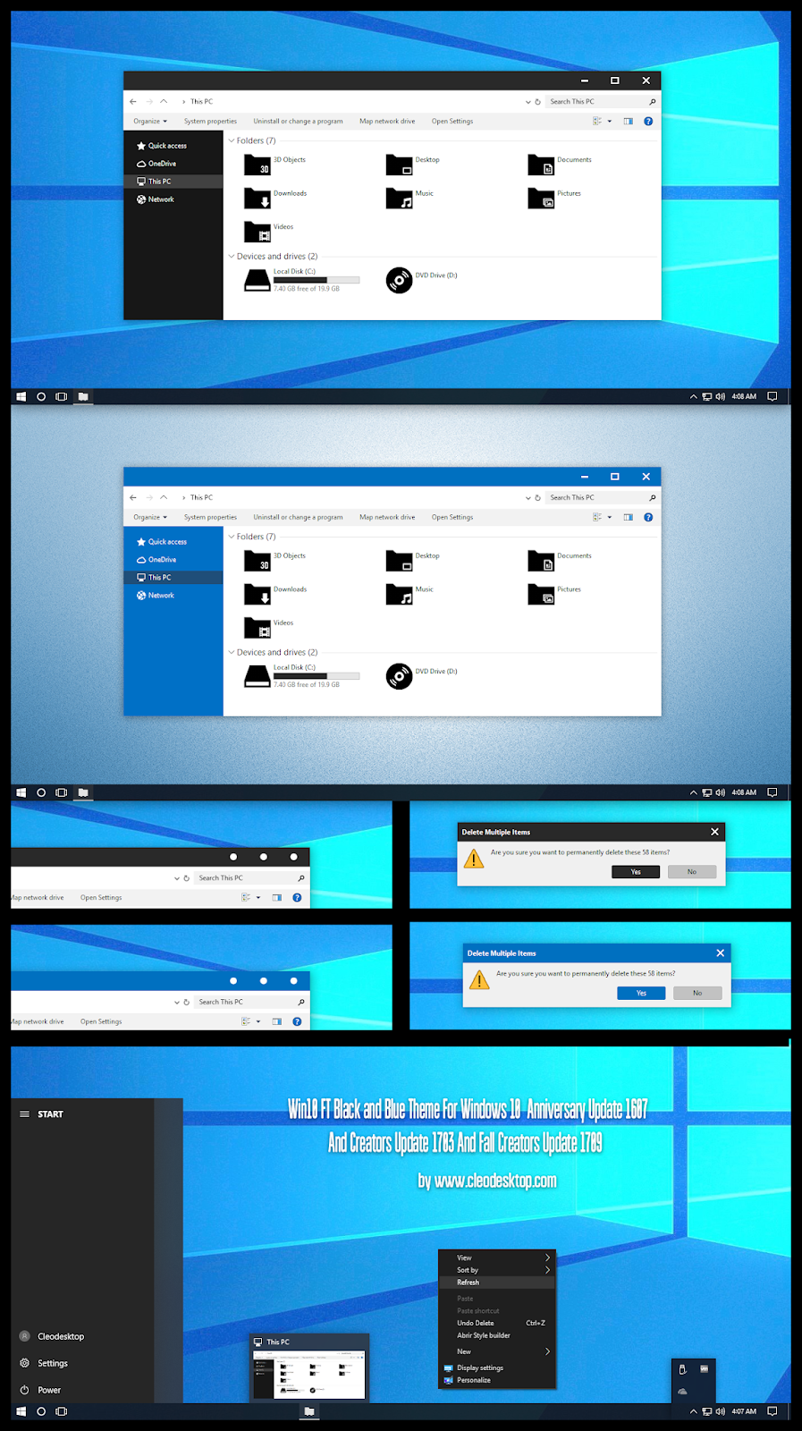 Windows10 Themes I Cleodesktop: Win10 FT Black and Blue