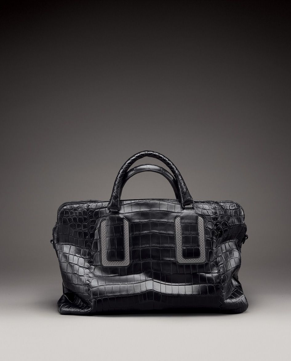 6a2a742e3a Bottega Veneta Nero Soft Crocodile Briefcase