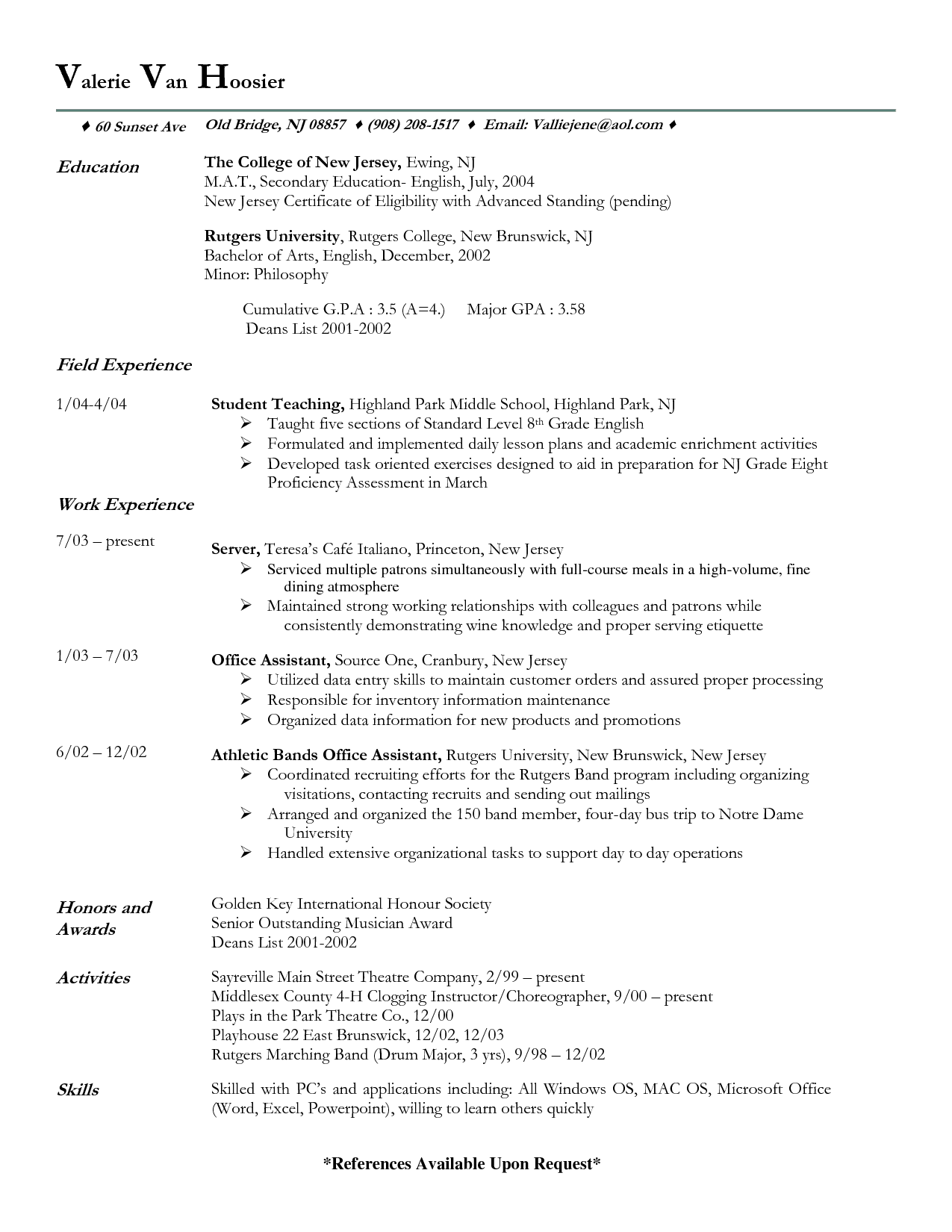 Example Fine Dining Server Resume Sample
