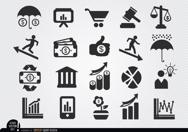 This Set Of Economic Themed Icons Contains Symbols For Food Basket