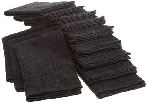 Bardwil Cotton Barmop Pack Of 12 Kitchen Towels Black By Bardwil