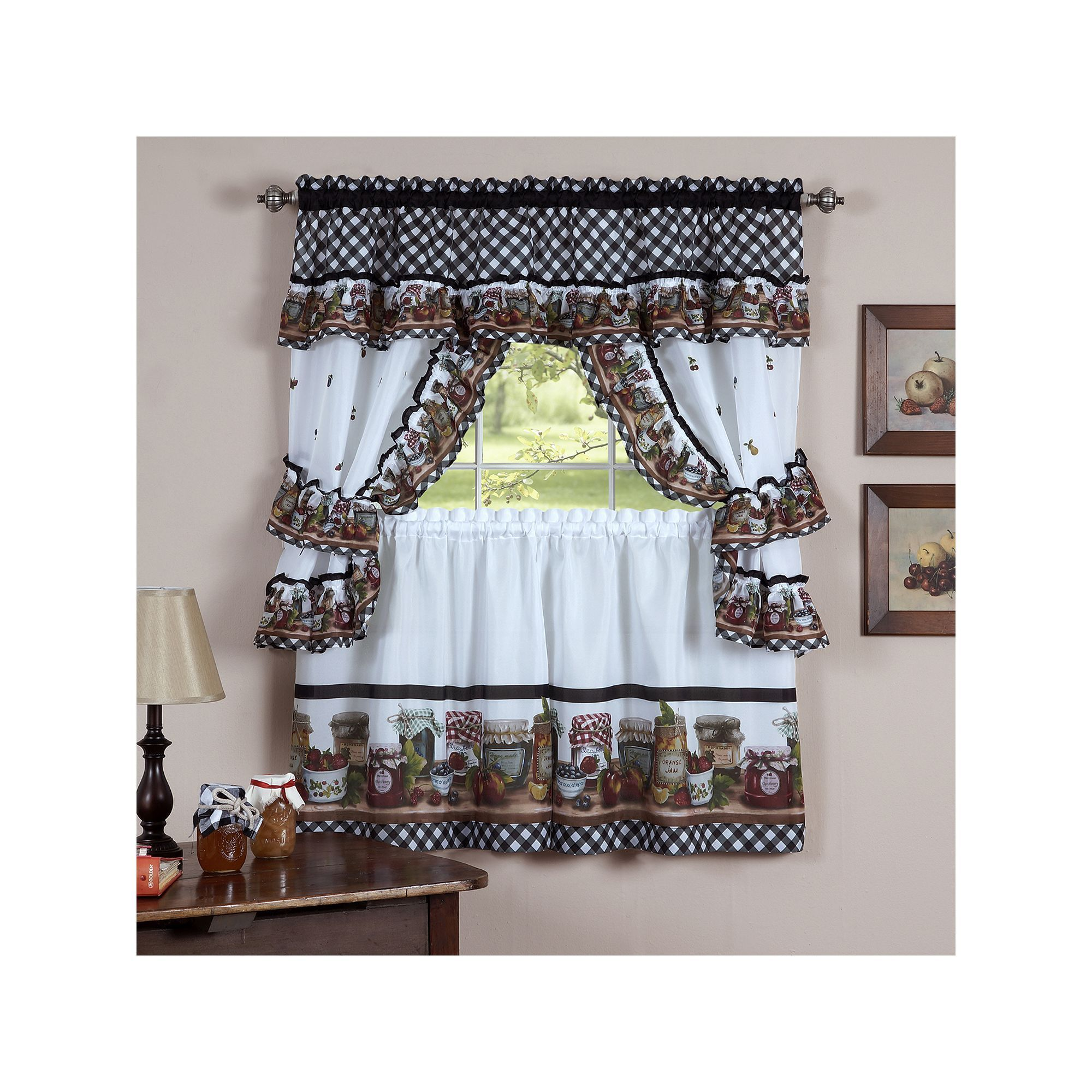kitchen curtain sets rectangle table and chairs mason jars 5 pc swag tier cottage set products multicolor