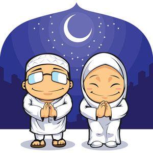 vector muslim clip art man and women praying on eid al adha front of rh pinterest com islamic clip art free islamic clipart images