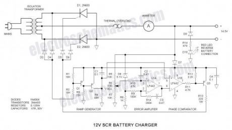 12v scr battery charger circuits