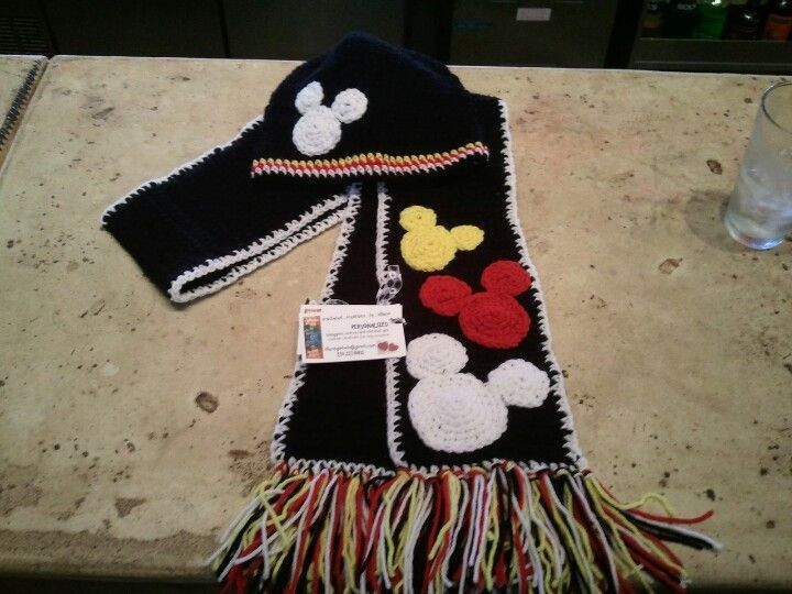 Mickey Mouse scarf and hat set | My crocheted creations... | Pinterest