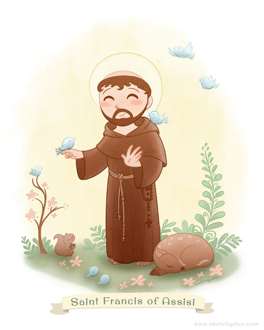 Saint Francis of Assisi illustration by Catherine Satrun.  St