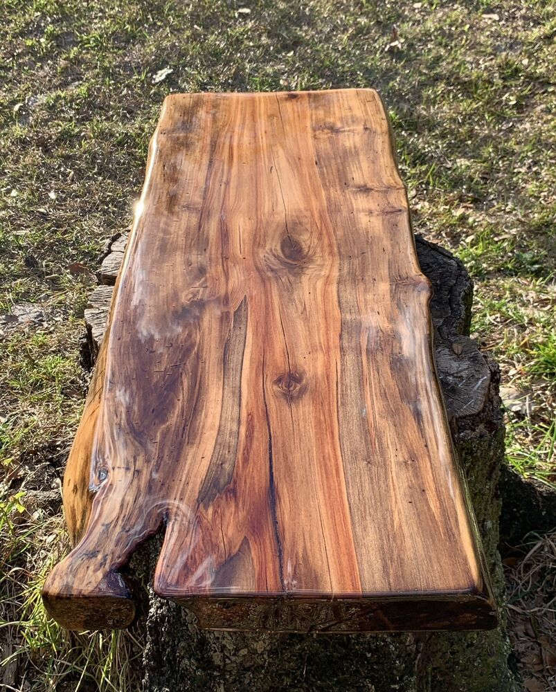 Handmade Live Edge Hickory Wood Resin Coffee Side Accent Table Top