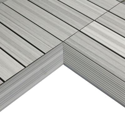 Newtechwood 1 6 Ft X 1 Ft Quick Deck Composite Deck Tile Inside Corner Trim In Indonesian Merabu 2 Piece Box Deck Tile Composite Decking Patio Deck Designs