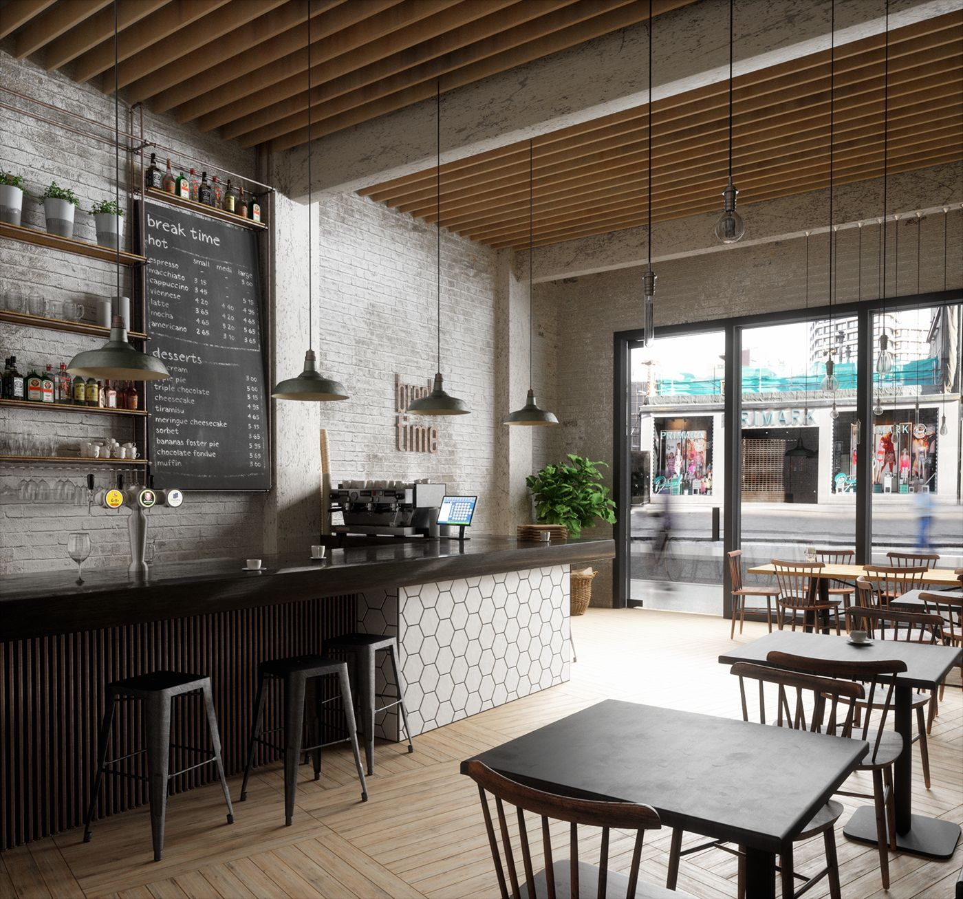 70 Coolest Coffee Shop Design Ideas: Break Time Café Interior Ceiling Wood Bar Tiles Lighting